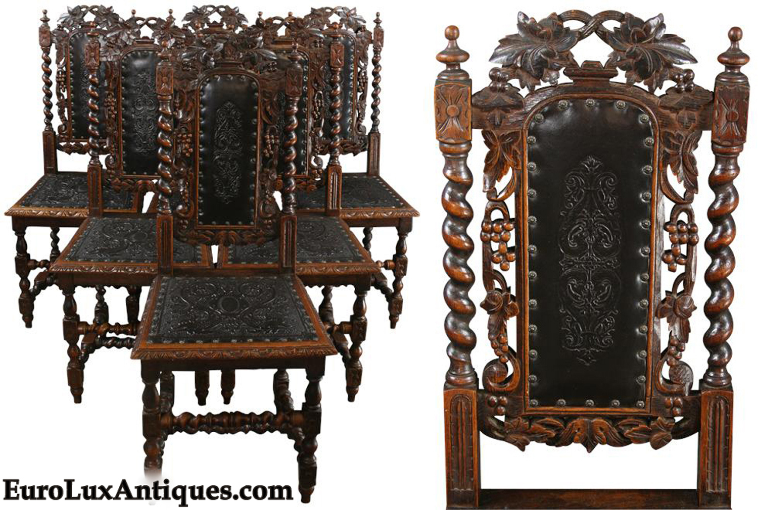 Antique French Hunting Chairs Thrones Vintage Spanish Renaissance Table Art Deco Buffet From
