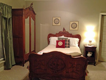 Louis XV Bed in this French Country style guest bedroom. EuroLuxAntiques.com