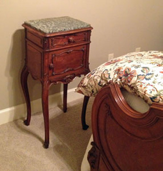 Antique Louis XV nightstand to match our client's French Country bedroom suite. EuroLuxAntiques.com