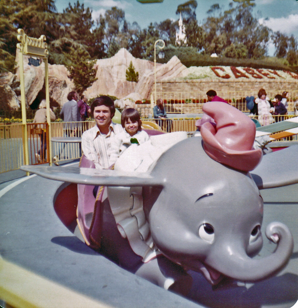 Family photograph Aimee and dad at Disneyland 1975. EuroLuxAntiques.com