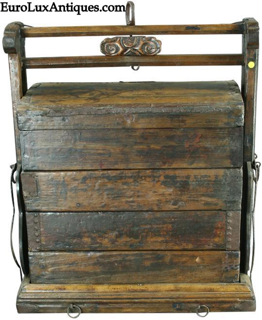 Unusual antique Chinese traditional Wedding Suitcase, 1880, would have been used by a new bride to transport her belongings to her new home. EuroLuxAntiques.com