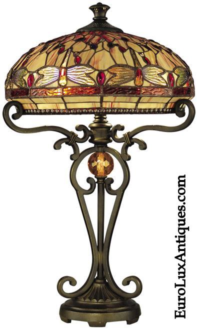 Dale Tiffany Lamp with dragonfly design in hand-rolled art glass. EuroLuxAntiques.com