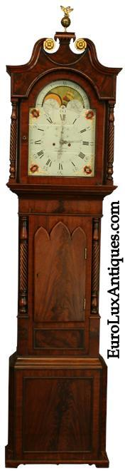 Antique English Regency Tallcase Grandfather Clock. EuroLuxAntiques.com