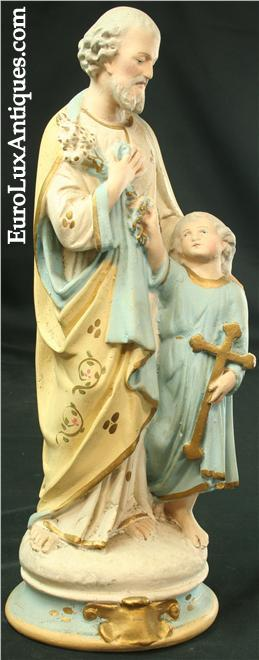 Antique chalkware sculpture circa 1900, Saint Joseph and the Christ Child. EuroLuxAntiques.com