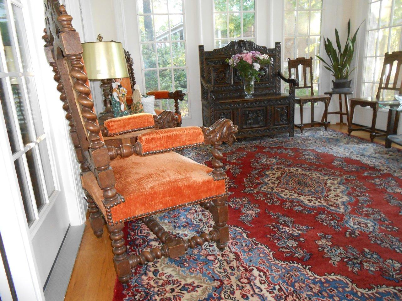 Antique Hunting Thrones in the sun porch
