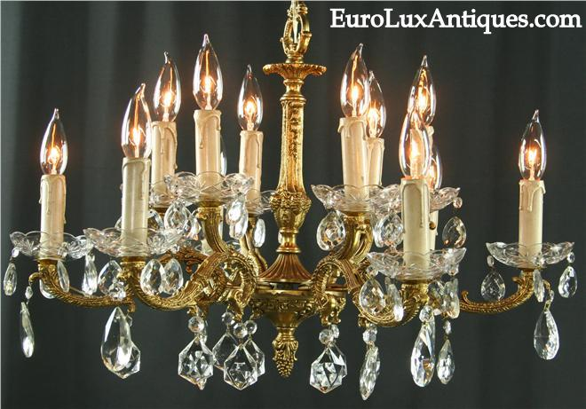 Vintage French Chandelier Lighting, 1950 with 12 arms, glass pendants. EuroLuxAntiques.com
