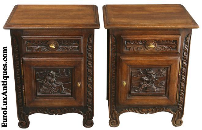 Vintage French Nightstands 1930 with His-and-Hers carved figures. EuroLuxAntiques.com