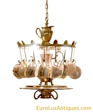 Upcycled chandelier with vintage tea cups. EuroLuxAntiques.com