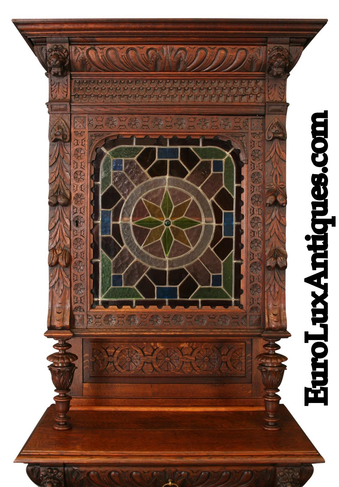 1900 Mechelen Buffet Stained Glass Door