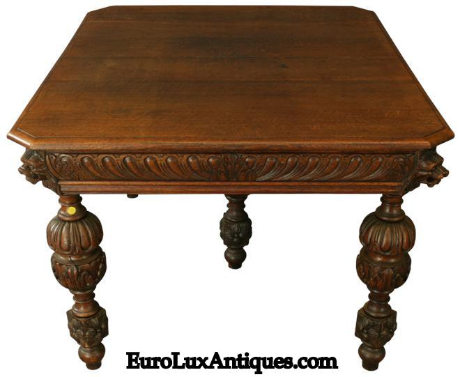 1920 Oak Dining Table is typical of Mechelen style antique furniture
