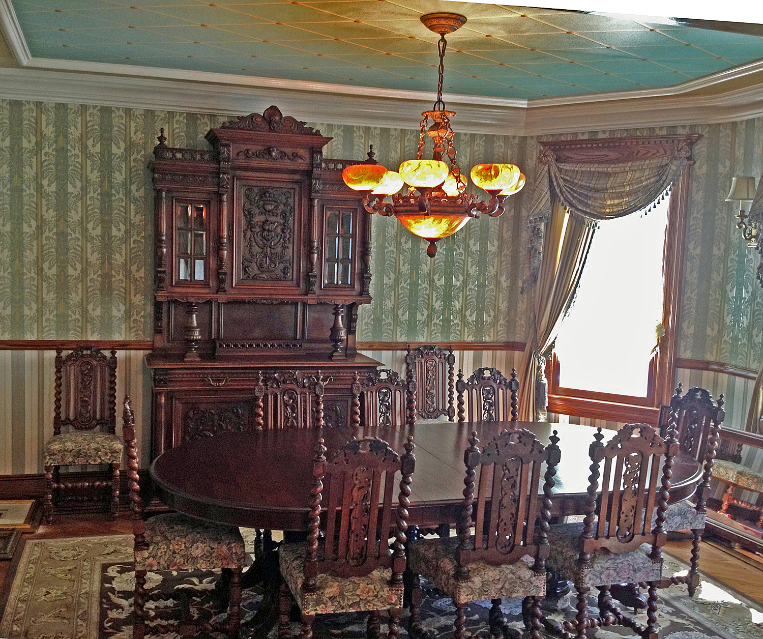 Antique dining room furniture in our client's Victorian house