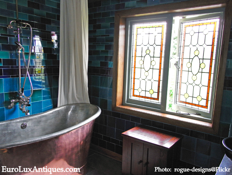 Bathroom stained glass in home decor