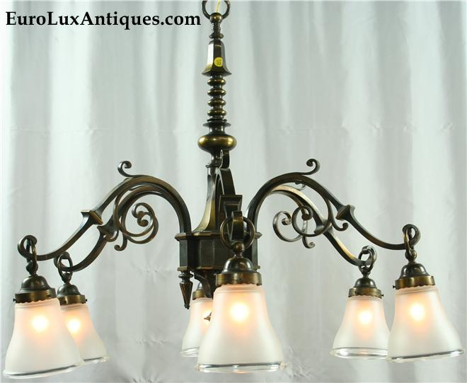 Heavy French Gothic Chandlier 1950