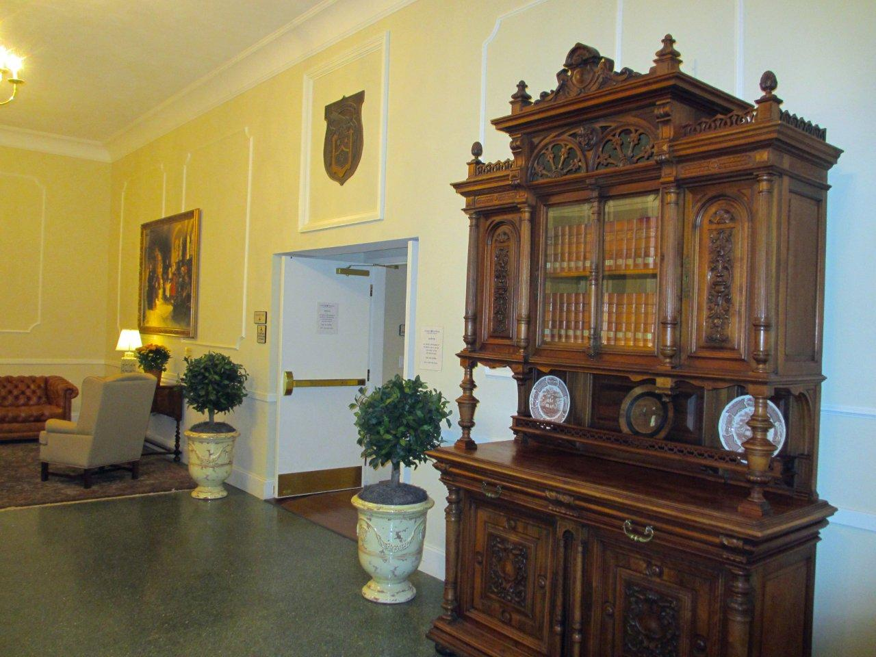 Antique buffet in seminary lobby