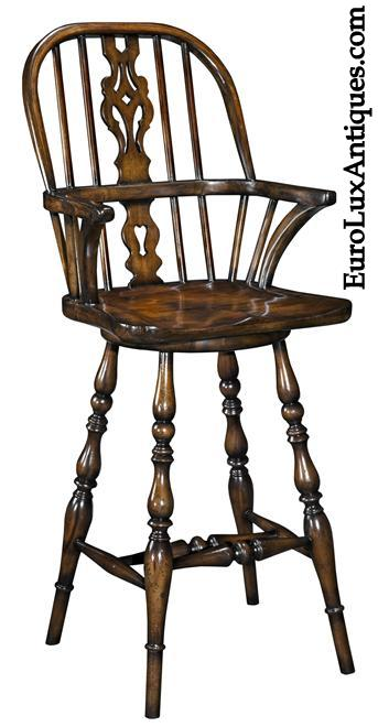 Windsor counter stool in antique style with a modern swivel seat