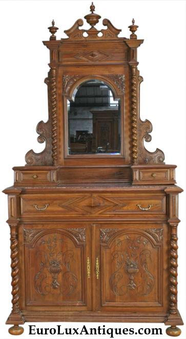 Antique carved French 1880 Hunting style vanity