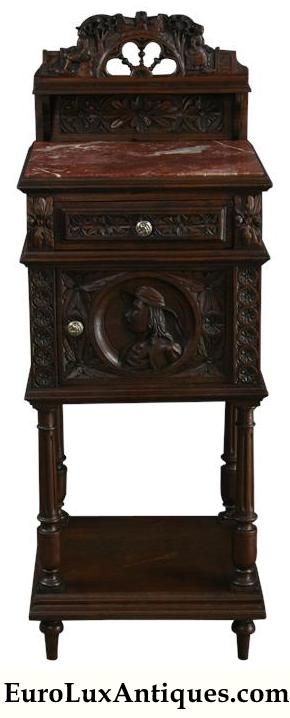 Antique carved French Brittany 1880 nightstand with marble top