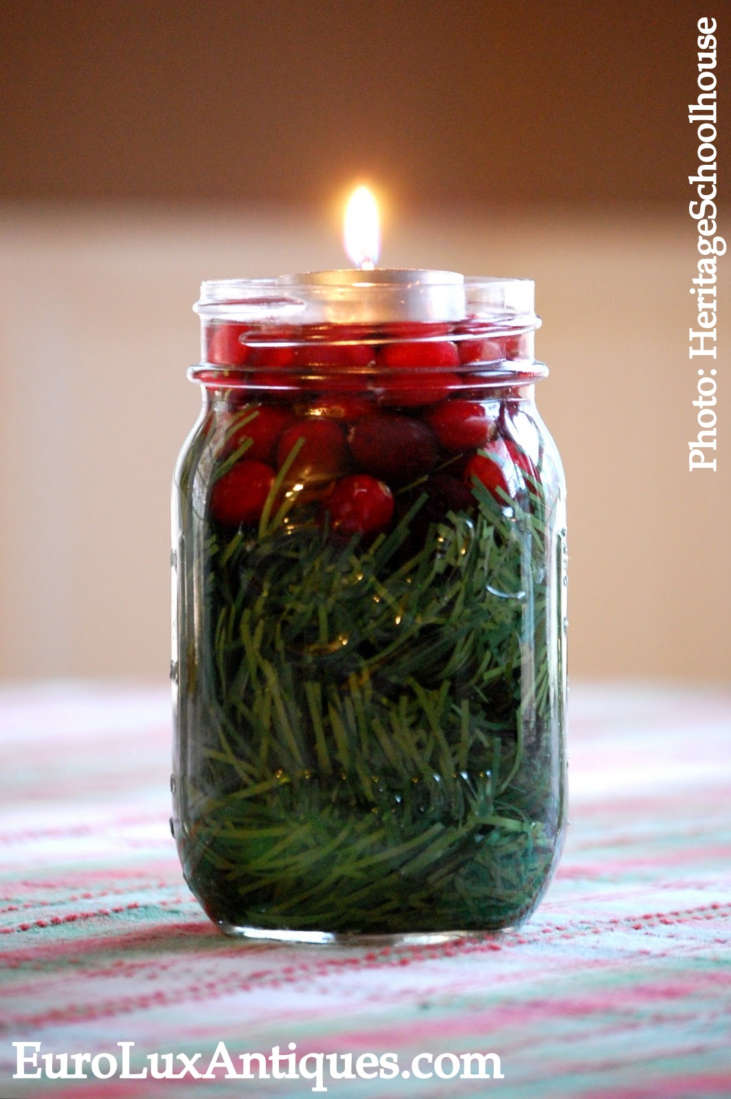 Mason Jar Christmas Table Decoration