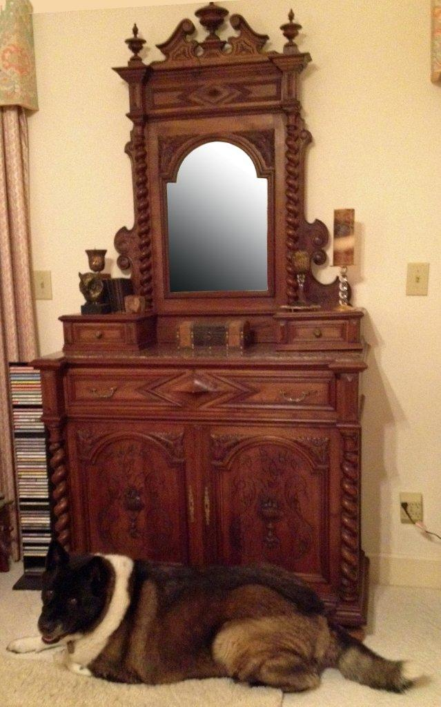 Antique carved 1880 French vanity