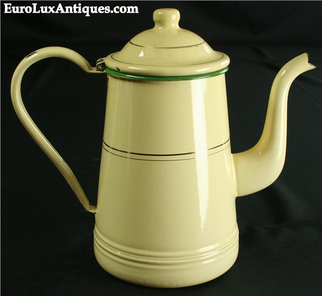antique enamelware kettle