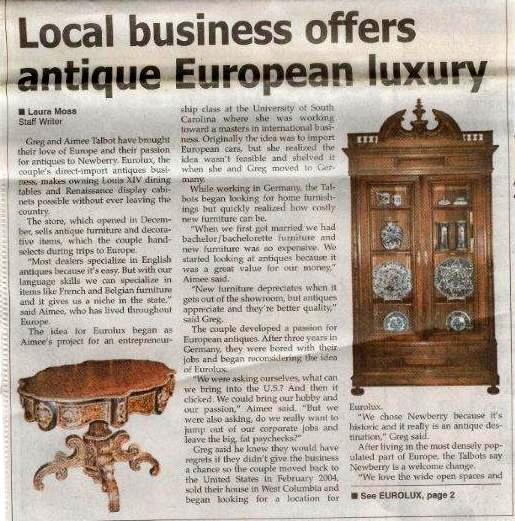 Newspaper article just after we launched our European antique furniture business