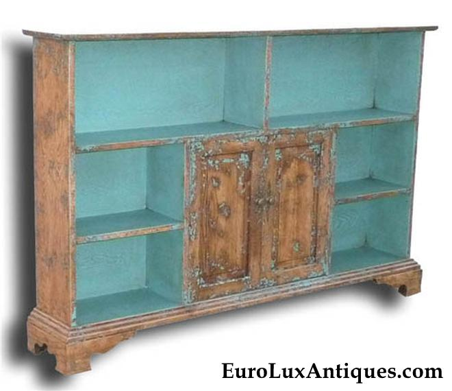 Turquoise blue decor accent bookcase