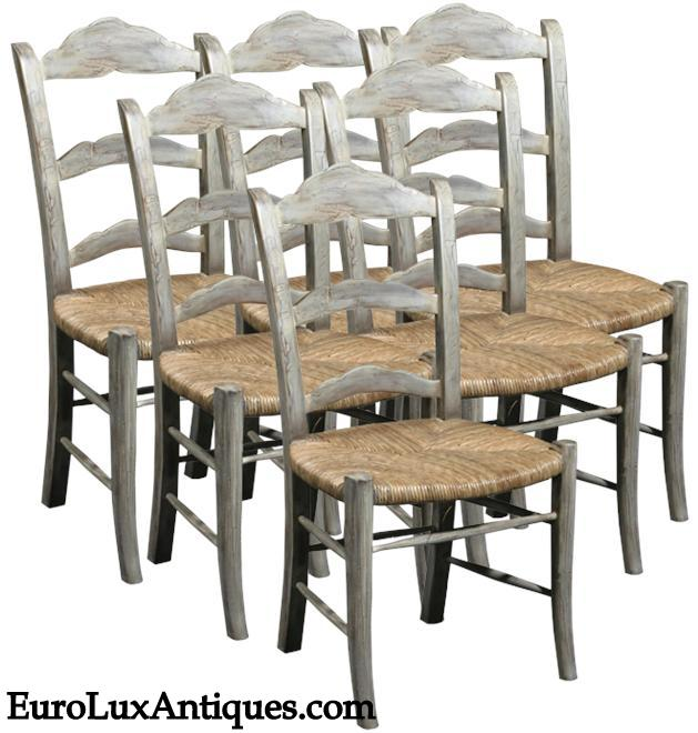 French Provincial dining chairs for gray decor