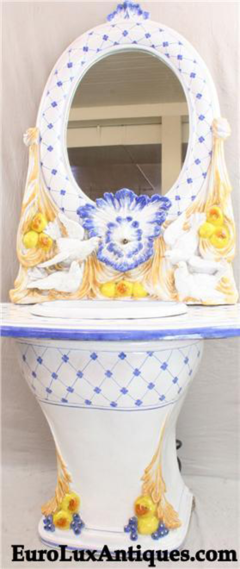 Italian Deruta ceramic fountain