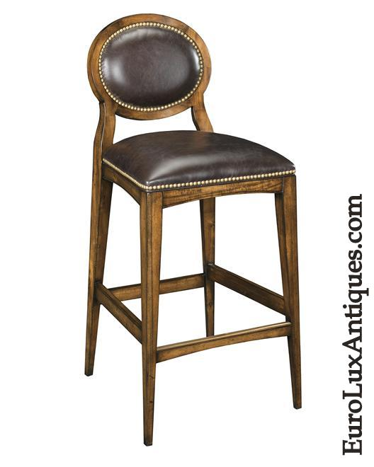 Leather stool with nailhead trim