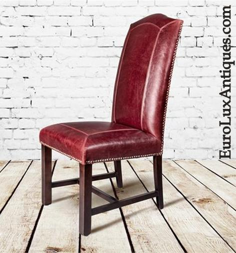 Red Leather dining chair nailhead trim