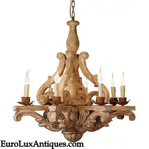 Rustic carved chandelier lighting