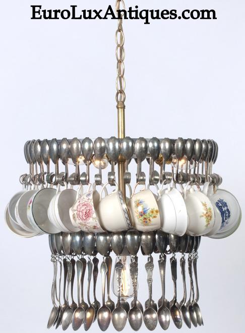 Upcycled vintage spoon chandelier