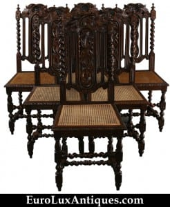 Set of French antique Hunting chairs