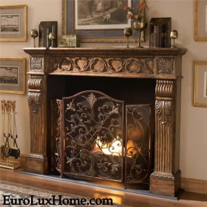 Ambella Home Rockefeller fireplace screen with copper accents