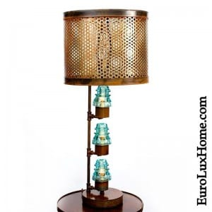 copper accent upcycled lamp