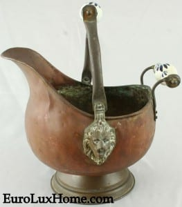 copper accent vintage French coal scuttle planter