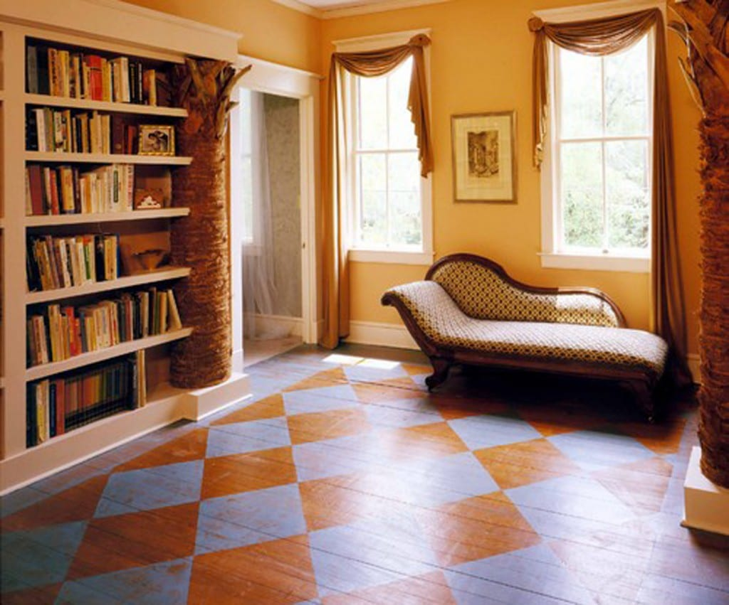 painted checkerboard floor in a traditional home