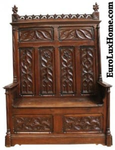 Antique French Gothic Bench