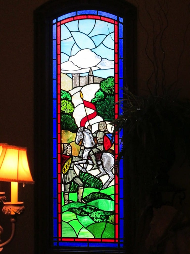 Renaissance Knight Stained Glass Window