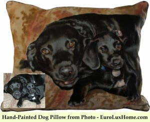 Hand-painted dog pillow in silk