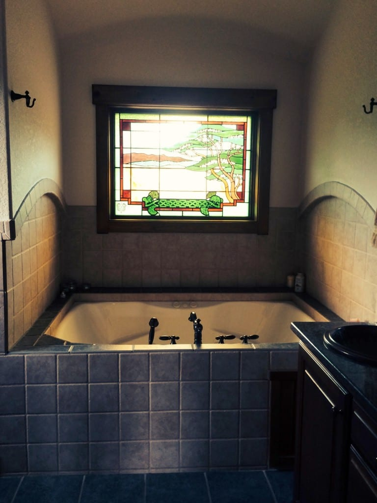 Custom Stained Glass Window Bathroom