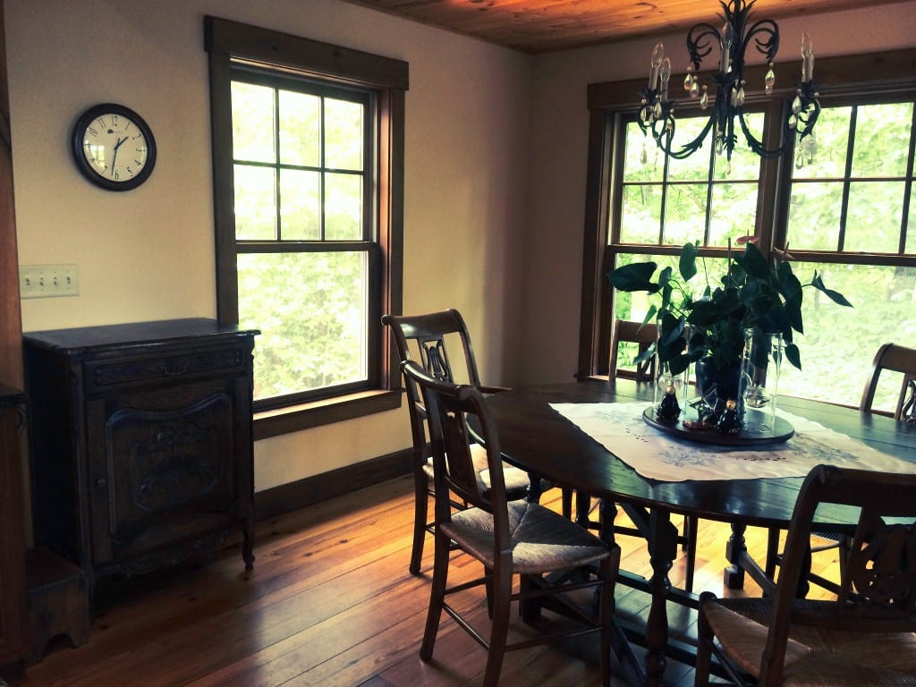 Breakfast nook with French Country jam cabinet