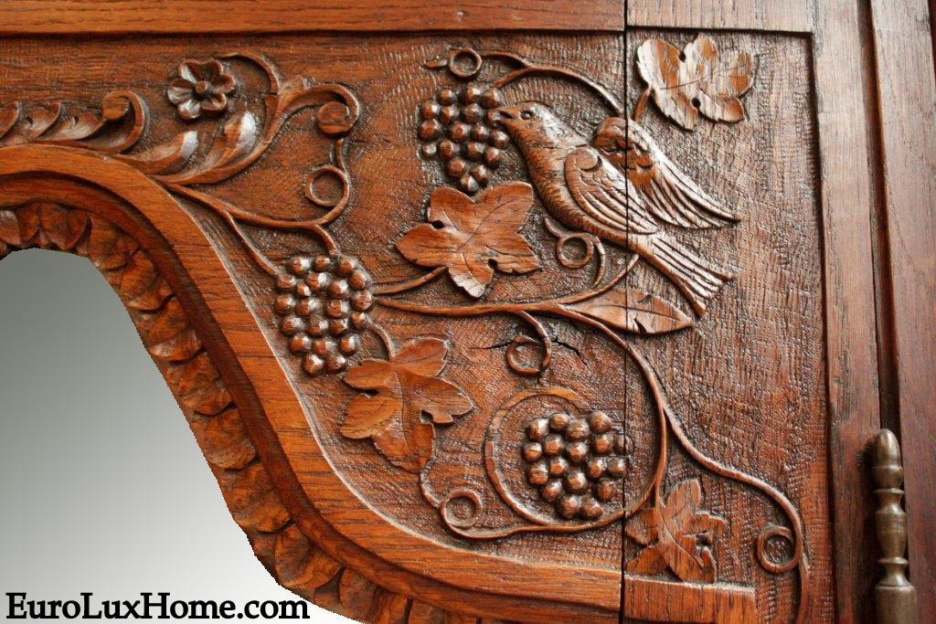 Antique French Armoire carved bird