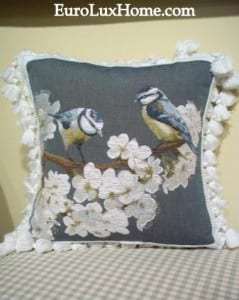 Gray flower and bird pillow