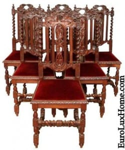 French Antique Chairs Renaissance Hunting Red