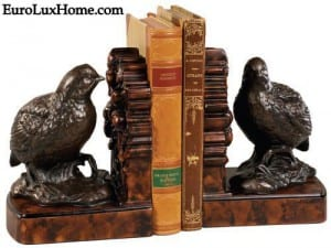 Quail bird bookends