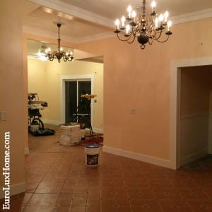 Vintage chandeliers and new tile