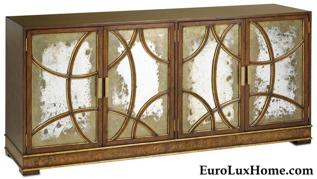 antiqued mirrored credenza