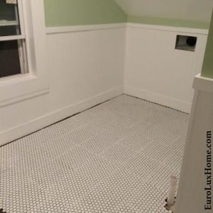 FInished upstairs bathroom penny tiles