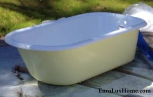 yellow bath tub for vintage bungalow